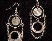Coin Earrings Silver Dangling Dime Chandelier Earrings, Unique Beautiful Handmade Jewelry, Cut Dimes, Coin Jewelry