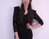 1990s Bodycon Black Lace Mini Dress Size S-M