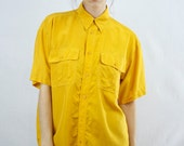 1980s Oversized Mustard Button Up Size S-M-L
