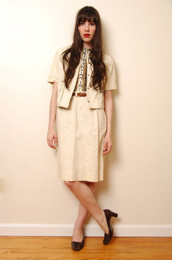 1960s Cream and Brown Novelty Print Wiggle Dress with Jacket Size S