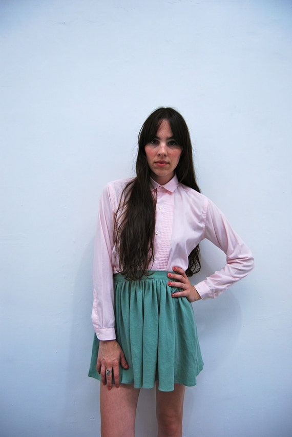 1960s Pink Pin Tuck Button Up Blouse Size S