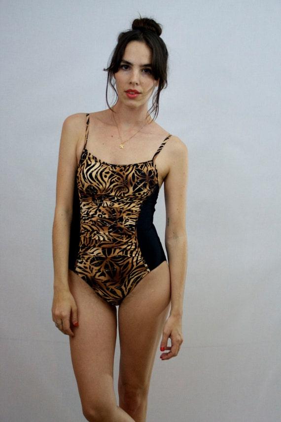 1980s Animal Print Bathing Suit Size XS-S