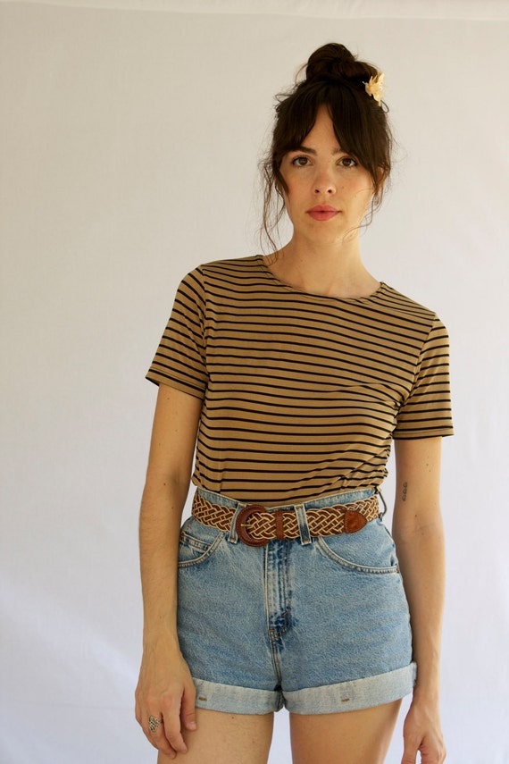 1990s Brown and Black Striped Shirt Size S