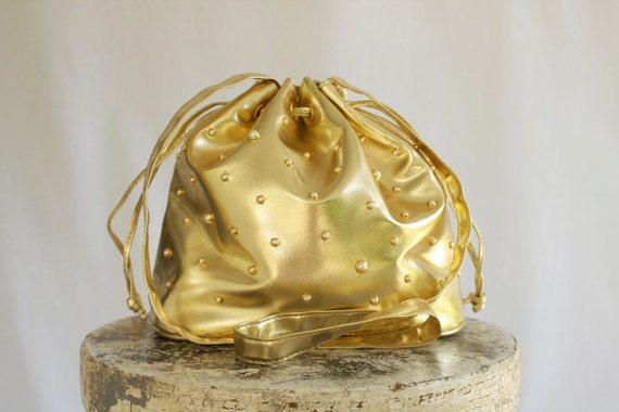 1990s Gold Lame and Pearl Bucket Bag