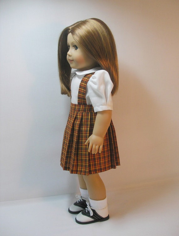 1944-1063 Plaid Pleated Skirt for Molly, Emily, American Girl 18 Inch Doll