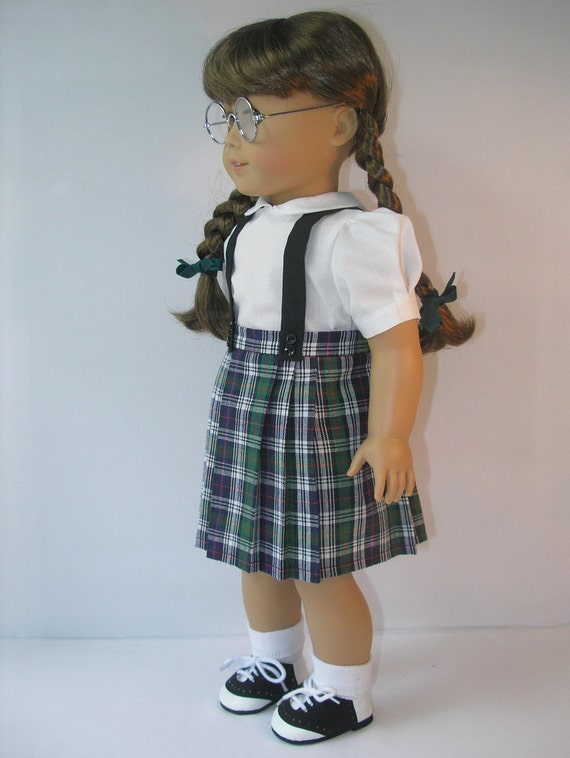 1944-1068 Plaid Pleated Skirt with Suspenders for Molly, Emily, American Girl 18 Inch Doll