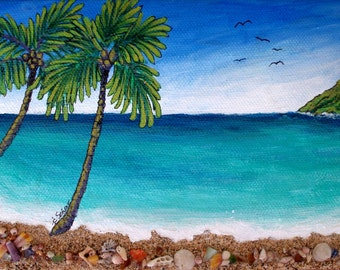 Two Palm Bay II, 5 inch by 7inch, acrylic original painting with sand, shells, sea glass by Kauai artist, Schar Freeman