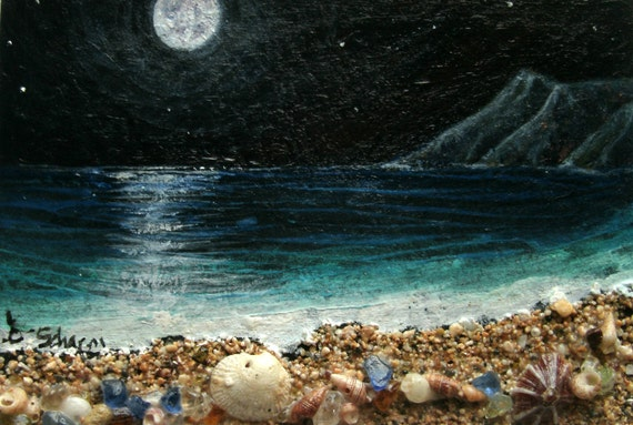 Moon Glow I, ACEO, art, card,editions,and original, matted to 8 inch by 10inch RTF, Ready To Frame