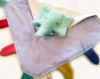 Eco Organic Blanket Baby Lovie Elephant Tag Blankee