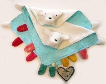 Organic Baby Gift Blanket Tag Polar Bear Lovie Blankee