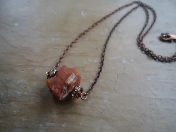 carnelian boulder necklace