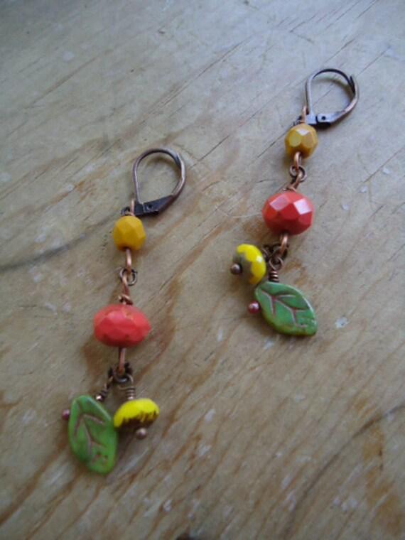 yellow green orange earrings