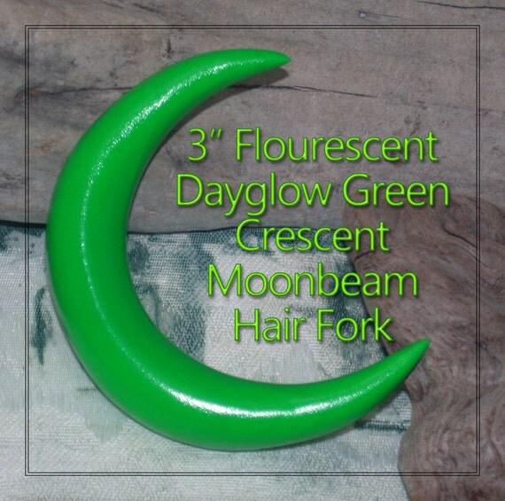 3 inch Dayglow Green Flourescent Moonbeam Hair Fork and self-defense weapon