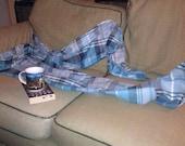Footed Pajama Bottoms, Large Adult Blue Plaid