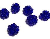 Lampwork Style Beaded Beads in Cobalt Blue