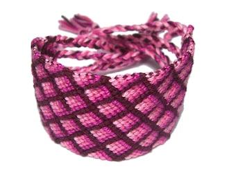 SALE Diamond pattern cuff friendship bracelet pink