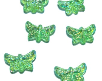 Peridot green AB butterfly beads one dozen