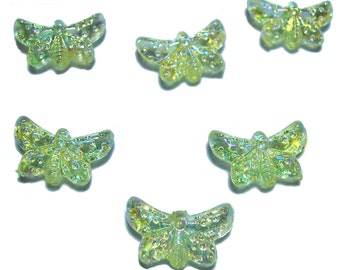 Yellow AB butterfly beads 12 pcs