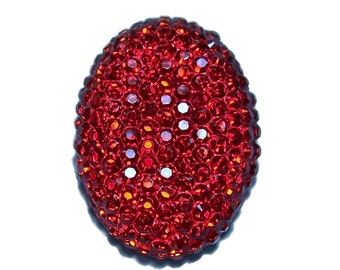 Oval cabochon 18x25mm in faceted ruby red