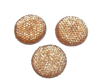 Resin rhinestone 24mm round and faceted cabochon in Light Topaz (3)