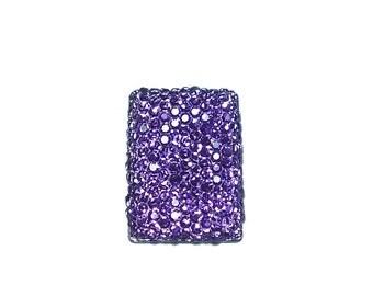 Rectangular cabochon 18x25mm in faceted tanzanite purple