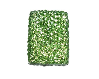 Rectangular shape cabochon 18x25mm in faceted Peridot green color
