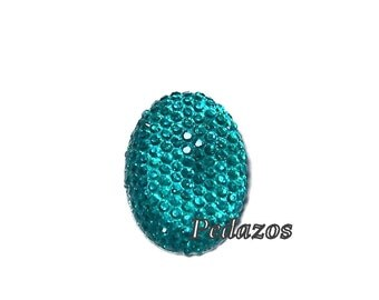 Oval cabochon 18x25mm in faceted Teal