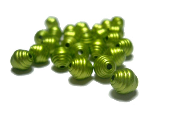 Clearance Sale Corrugated plastic oval beads 8x7mm in Olive 100 count