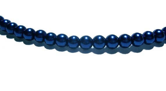 4mm glass pearls in Navy Blue
