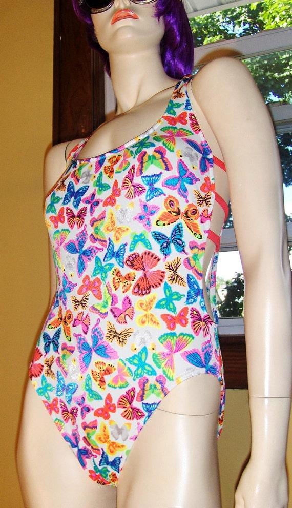 FLASHY 80s Bathing Beauty NEON Butterflies One Piece Swimsuit SZ 11/12