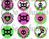 Cute Girly Skulls Set 02 - Pink and Lime - Bottle Cap Images Digital Printable File 4x6