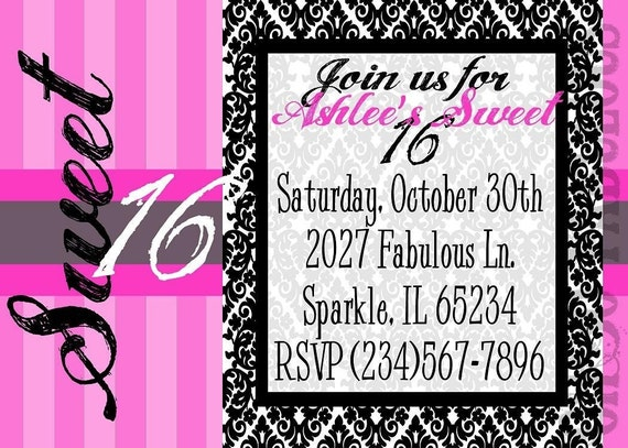 RESERVED for hisaacs06 - SWEET 16 Birthday Party Invitation - Customizable and PRINTABLE