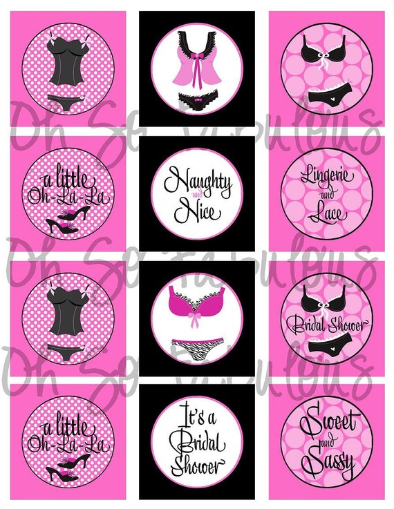 Items similar to Lingerie Bridal Shower Cupcake Toppers 2 ...
