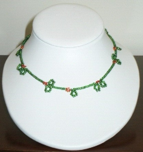 Green and Red Fun Beaded Necklace
