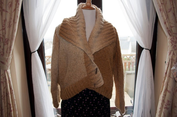 Handknitted Beige/Brown Cardigan/Jacket