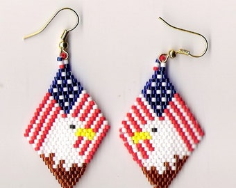 hand beaded eagle on flag dangle earrings