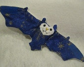 Gold Snowflakes on Blue with White Faux fur - Bat Coffee Cozy, Cup Sleeve, Stuffed Animal