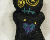 Voodoo Doll Pin Cushion or Pocket Pal - Sparkly Black with Blue Gold and Purple