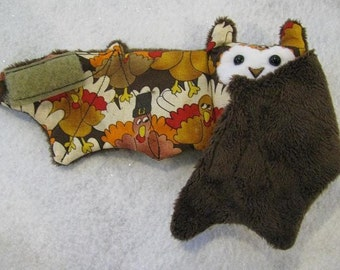Turkey Thanksgiving Print Bat Coffee Cozy, Cup Sleeve, Stuffed Animal