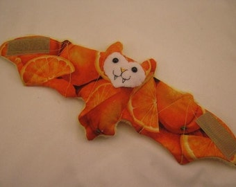 Oranges on Yellow Faux Fur Bat Cup Sleeve\/Coffee Cozie\/Stuffed Animal