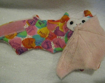 Conversation Hearts Candy - Valentines Day Bat Coffee Cozy, Cup Sleeve, Stuffed Animal