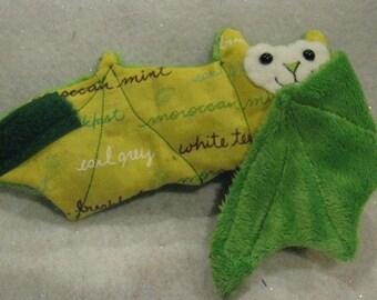 Tea Names on Green Faux Fur Cup Sleeve, Coffee Cozy/ Cozie, Stuffed Animal, Softie