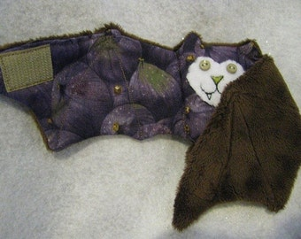 Figs Bat with Button Eyes - Coffee Cozy, Stuffed Animal, Cup Sleeve, Toy