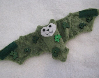 St. Patricks Day with Shamrock Buttons - Bat Coffee Cozy/Stuffed Animal/Cup Sleeve