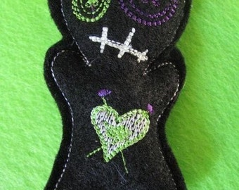 Voodoo Doll Pin Cushion or Pocket Pal - Black and Green GLOW in the dark