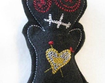 Voodoo Doll Pin Cushion or Pocket Pal - Black, Red and Gold