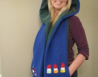 Gnomes and Mushrooms Hooded Scarf with pockets
