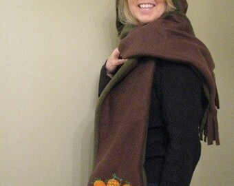 Damask and Patterned Pumpkin Fall Hooded Scarf with pockets