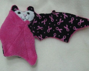 Pink Ribbon Bat Stuffed Animal, Coffee Cozy, Cup Sleeve