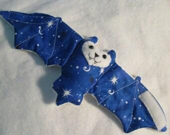 Blue Stars and Planets Bat - Stuffed Animal, Cup Sleeve, Coffee Cozy